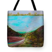 A Boat And A Seamless Sky Tote Bag