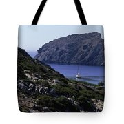 A Boat Sailing In The Valley Tote Bag