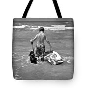 A Boy And His Dog Go Surfing Tote Bag