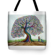 A Boy His Dog And Rainbow Tree Dreams Tote Bag
