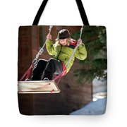 A Boy Plays Outside In Lake Tahoe Tote Bag