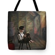 A Boy Posed Reading Old Books Victoria Tote Bag