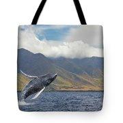 A Breaching Humpback Whale  Megaptera Tote Bag