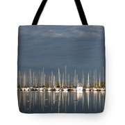 A Break In The Clouds - White Yachts Gray Sky Tote Bag