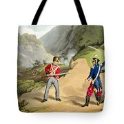A British Soldier Taking Two French Tote Bag by John Augustus Atkinson