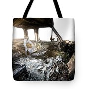 A Burned Out Truck At Sunset Tote Bag