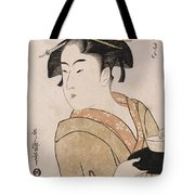 A Bust Portrait Of The Waitress Okita Of The Naniwaya Teahouse Tote Bag
