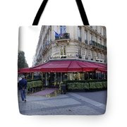 A Cafe On The Champs Elysees In Paris France Tote Bag