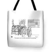 A Campaign Manager Speaks To A Bashful Politician Tote Bag by Zachary Kanin