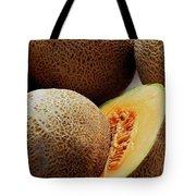 A Cantaloupe Sliced In Half Tote Bag