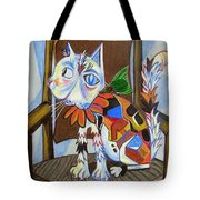 A Cat For Picasso_ Chat Et Souris Tote Bag