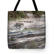 A Cheetah Stands At The Edge Of The Tote Bag by Diane Levit