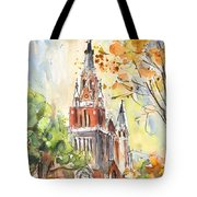 A Church In Our Street In Budapest Tote Bag