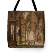 A Church Interior With Elegant People Tote Bag