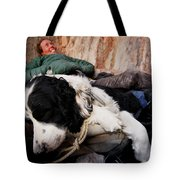 A Climber And Her Dog Lay Tote Bag