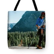A Climber At The Top Of Pitch 3 On Swan Tote Bag