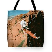 A Climber On Panty Wall In Red Rock Tote Bag
