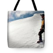 A Climber On The Glacier Of Cotopaxi Tote Bag