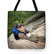A Climber Reaches His Hand In A Crack Tote Bag