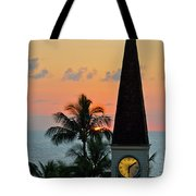 A Clock Tower At Sunset On Maui, Hawaii Tote Bag