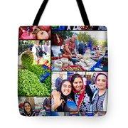 A Collage Of The Fresh Market In Kusadasi Turkey Tote Bag