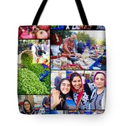 A Collage Of The Fresh Market In Kusadasi Turkey Tote Bag