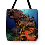 A Colorful Reef Scene With Sunburst Tote Bag