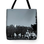 A Combat Patrol Heads For The Woods Tote Bag