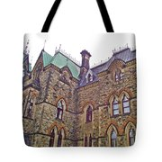A Corner Of Parliament Building In Ottawa-on Tote Bag