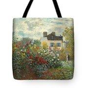 A Corner Of The Garden With Dahlias Tote Bag
