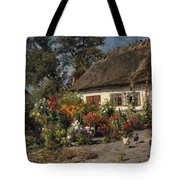 A Cottage Garden With Chickens Tote Bag