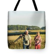 A Couple Bird Watching On A Salt Marsh Tote Bag