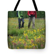 A Couple Hikes Through A Field Tote Bag
