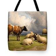 A Cow And Five Sheep Tote Bag