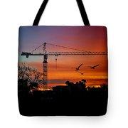 A Crane And Three Birds Tote Bag