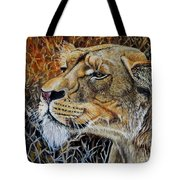 A Curious Lioness Tote Bag