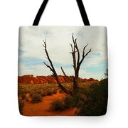 A Dead Tree Foreground A Maze Of Rocks Tote Bag