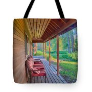 A Deck By The Methow River At Cottonwood Cottage Tote Bag