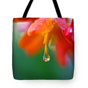 A Delicate Touch - Water Droplet - Orange Flower Tote Bag