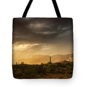 A Desert Monsoon Sunset  Tote Bag