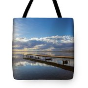 A Dock Leading Out Into The Lake At Tote Bag