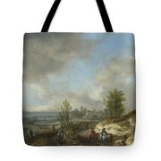 A Dune Landscape With A River And Many Figures Tote Bag