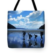 A Family Of Hikers Walks Tote Bag