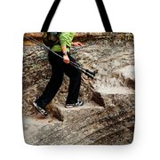 A Female Hiker Walking Up Steps Chopped Tote Bag
