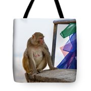 A Female Macaque On Top Of Wall Tote Bag