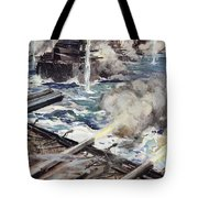 A Fleet Of Battleships Firing Tote Bag