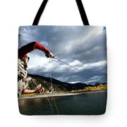 A Fly Fisher Casting His Line Tote Bag