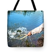 A Fly Fisherman Pulls A Fish Tote Bag
