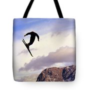 A Freestyle Skier Takes A Jump In Utah Tote Bag