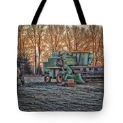 A Frosty John Deere Turbo 7700 Combine Tote Bag